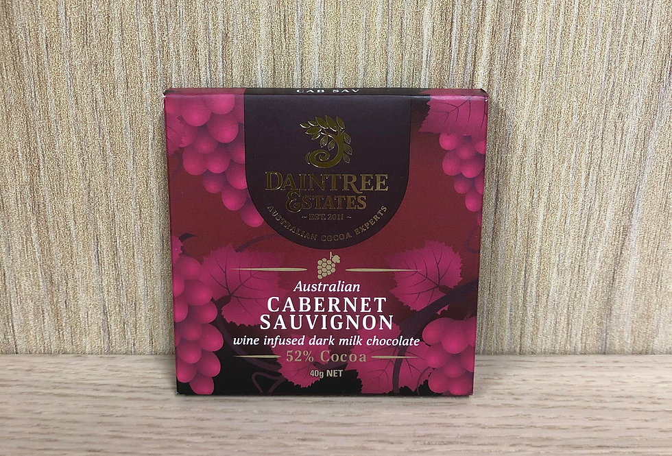 DAINTREE ESTATES - Australian Cab Sav Wine Infused 52% Cocoa 40g