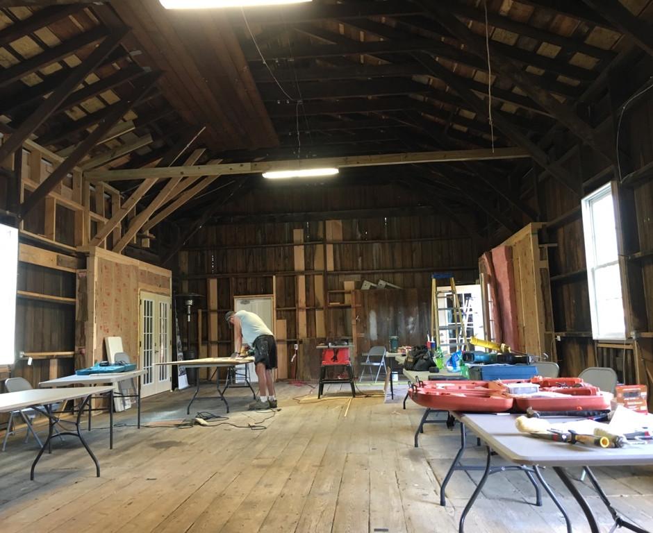 Interior work retains original elements