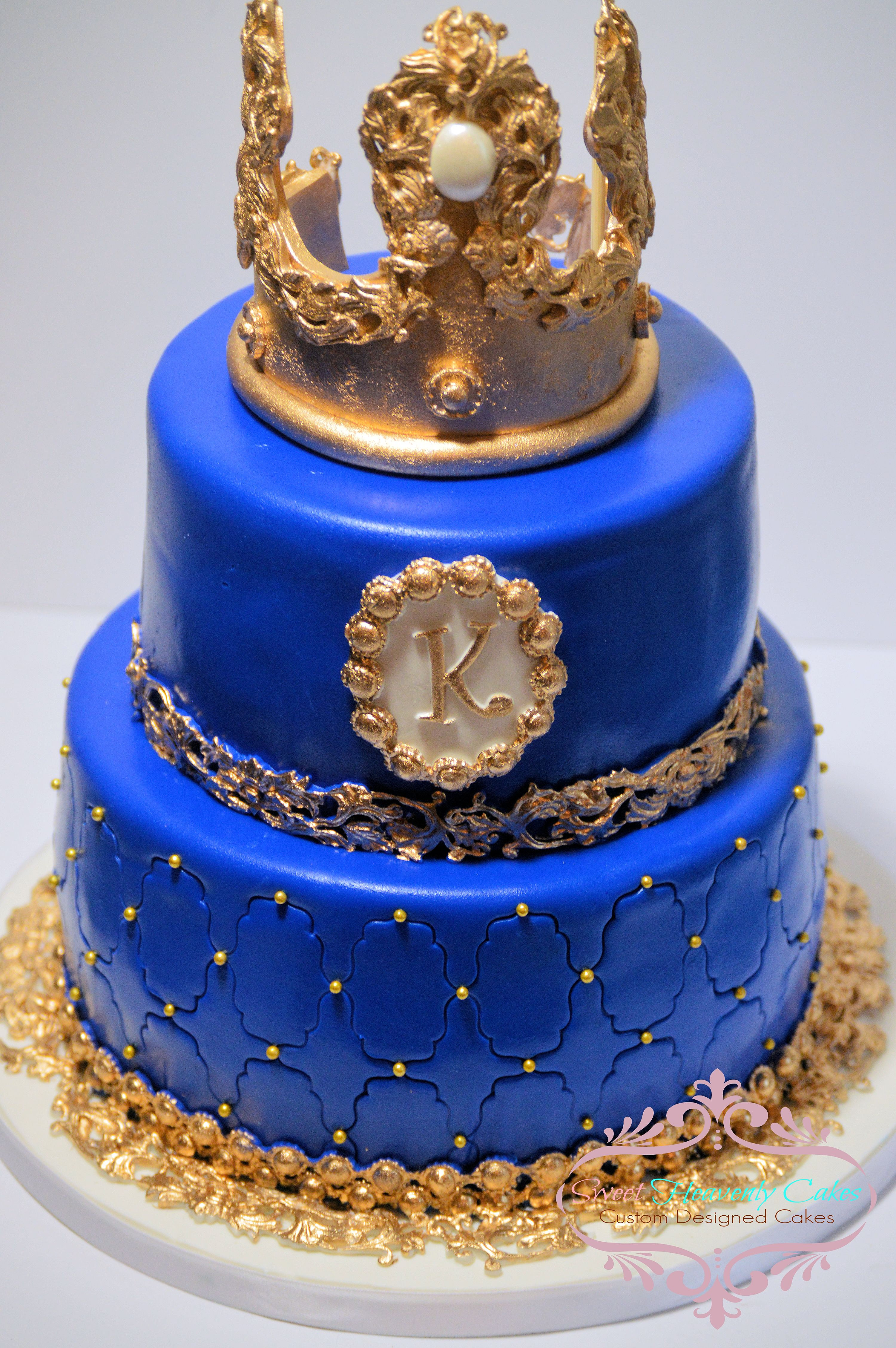 Royal Blue Prince Baby Shower Cake
