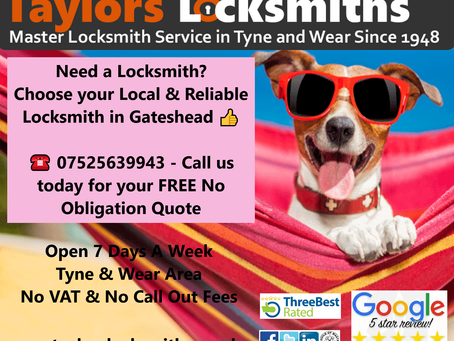 🏆 Voted TOP 3 Locksmiths in the Gateshead Area 2020 & 2021