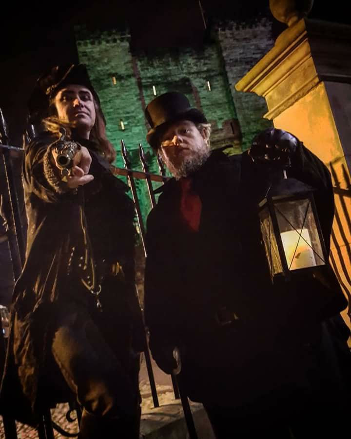 men stand in costume in Newcastle, Newcastle Ghost Walk Guides Ready For Halloween Ghost Walks