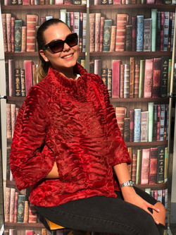 Rote Swakara Persianer Jacke- Red Persia