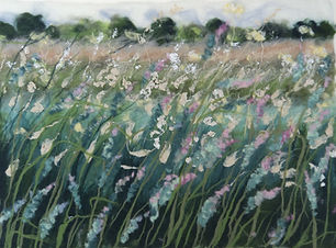 Summer grasses. Felted wool and silk fib