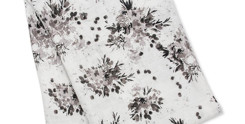 Mousseline de Bambou et coton Floral noir