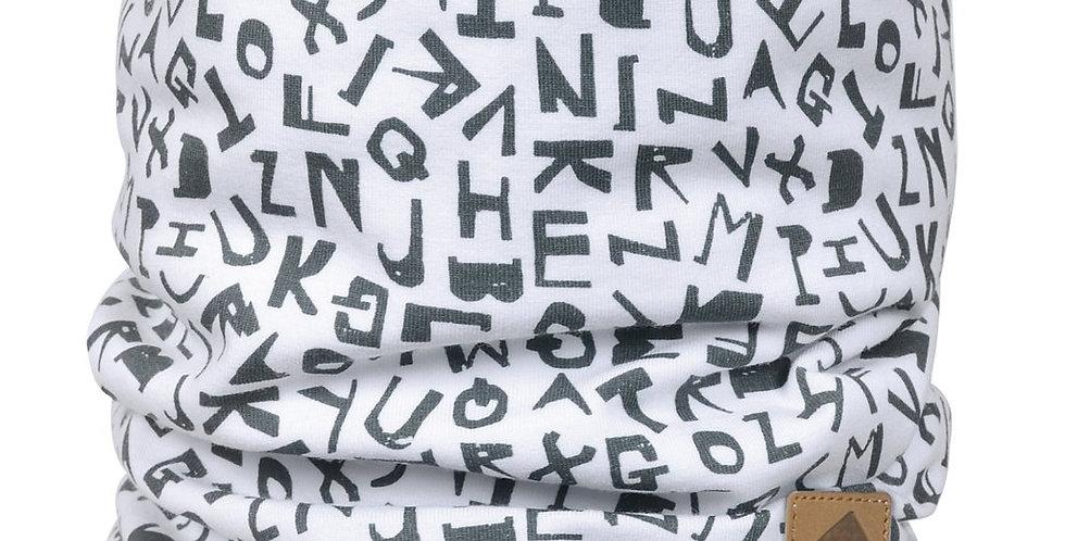 Cache-cou de coton - Alphabet blanc