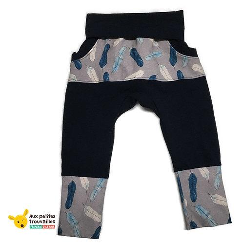 Pantalon évolutif (Plumes bleues/Marine à poches)