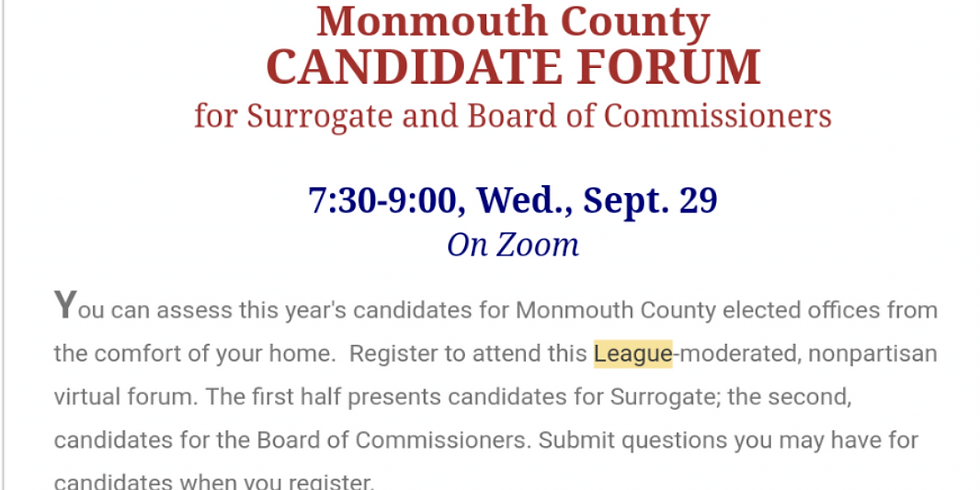 League of Women Voters of Monmouth County - Monmouth County Candidate Forum