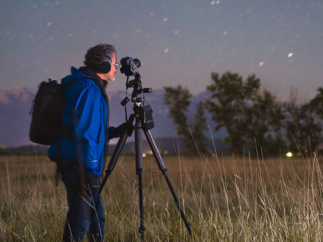 Photographing the big barn under the stars