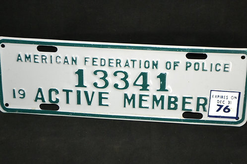 ThriftCHI 1976 American Federation of Police 13341 Active Member Plate