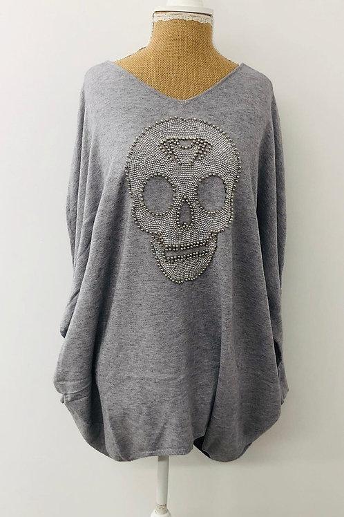 Grey skull soft knit