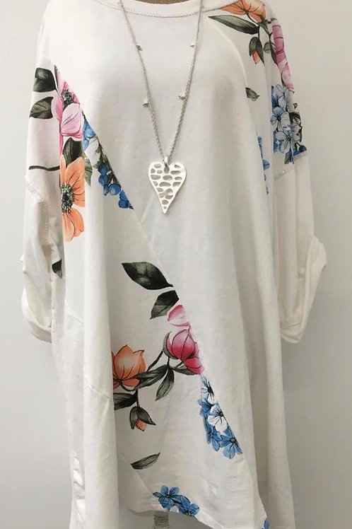 Floral panel tunic white