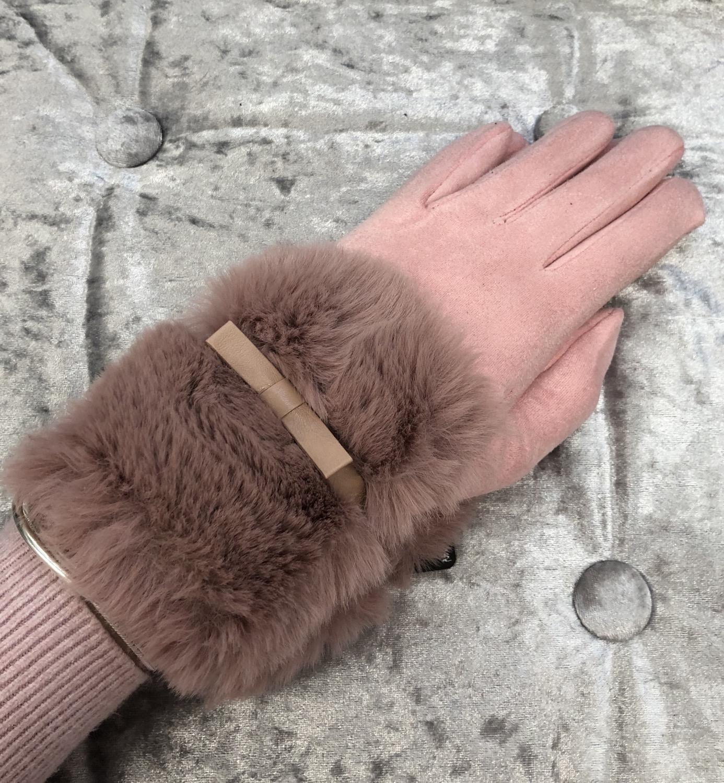 Pink faux fur gloves
