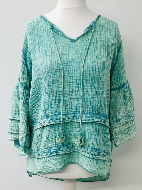 Lily cheese cloth blouse turquoise aqua