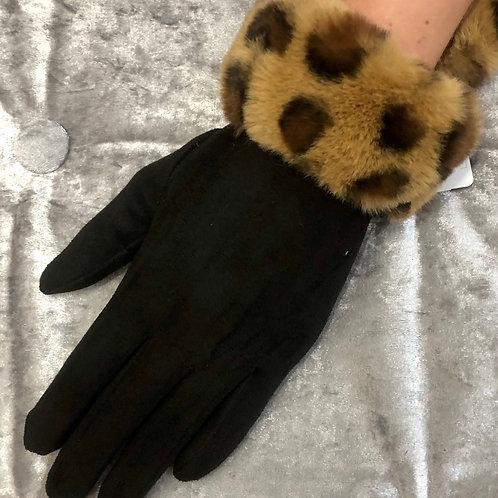 Leopard / black Suedett