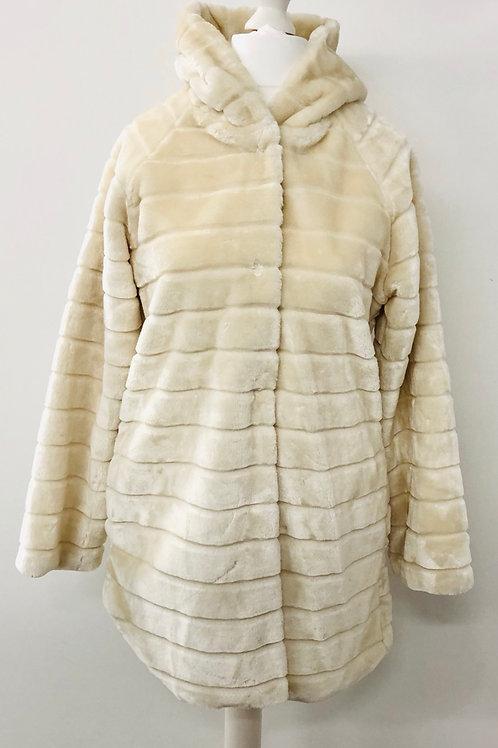 Faux fur coat in cream