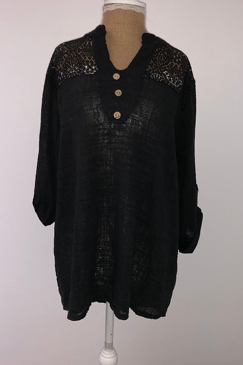 Linen & lace blouse black