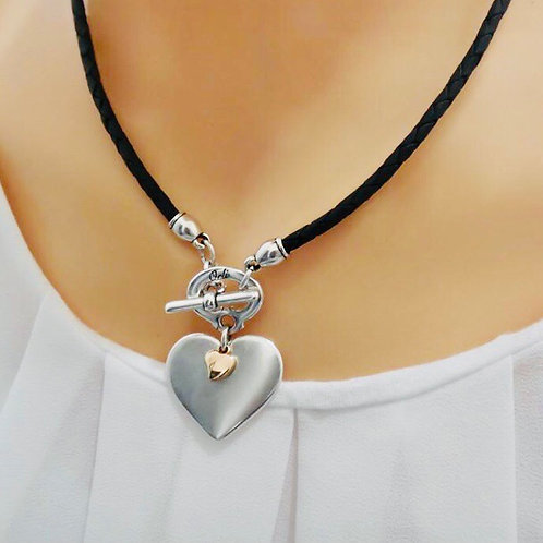 SILVER AND MINI ROSE GOLD HEART PLEATED LEATHER NECKLACE, BLACK