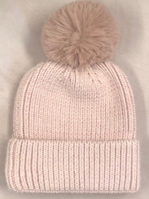 Cashmere mix bobble hat Pink
