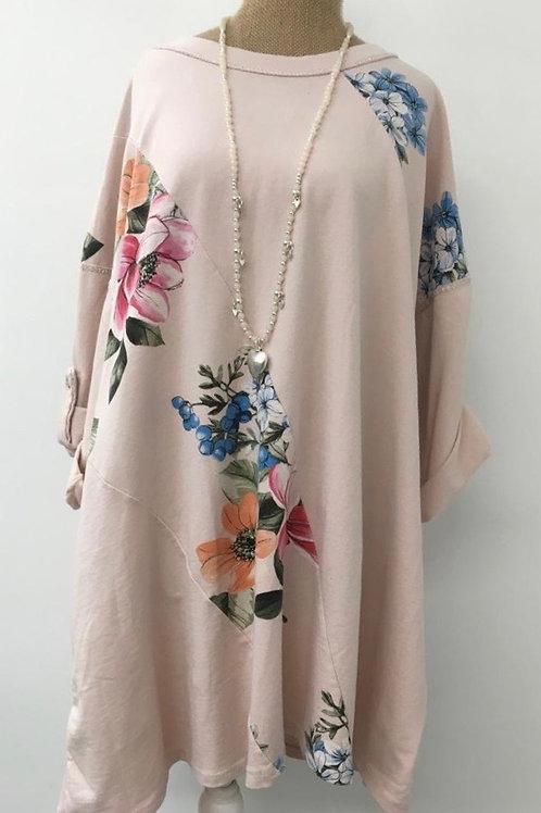 Floral panel tunic blush