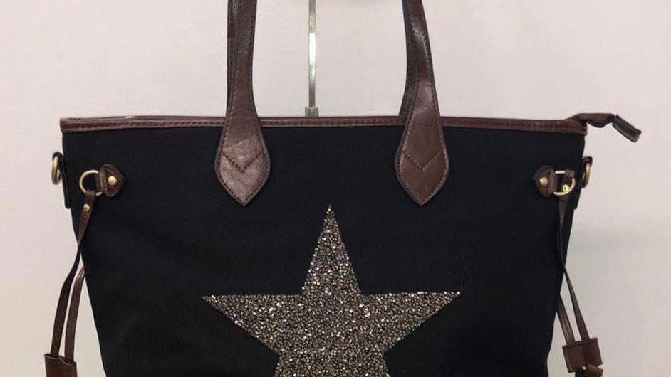Star Canvas shopper black