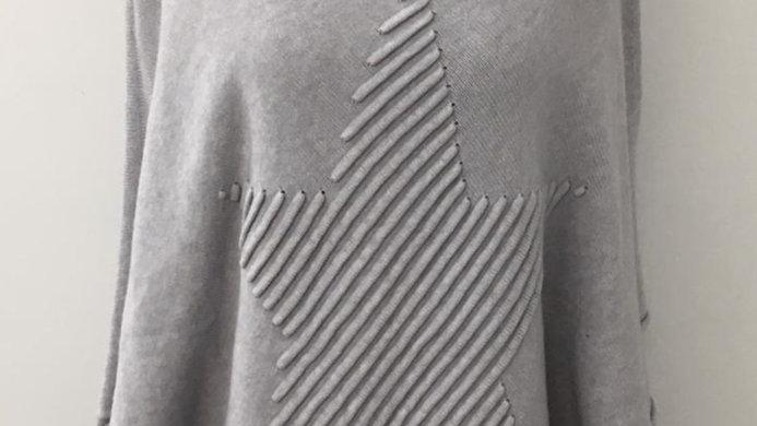 Ribbed star poncho grey