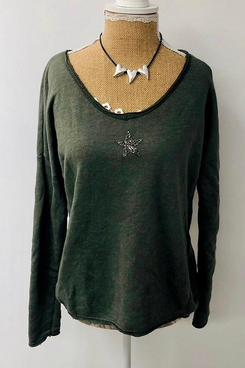 Crystal star sweater khaki