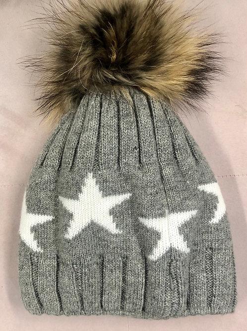 Grey star bobble hat