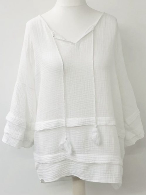 Lily cheese cloth blouse in white