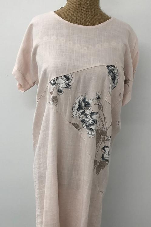 Pale pink linen dress