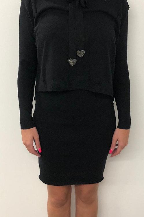 Black knitted dress set