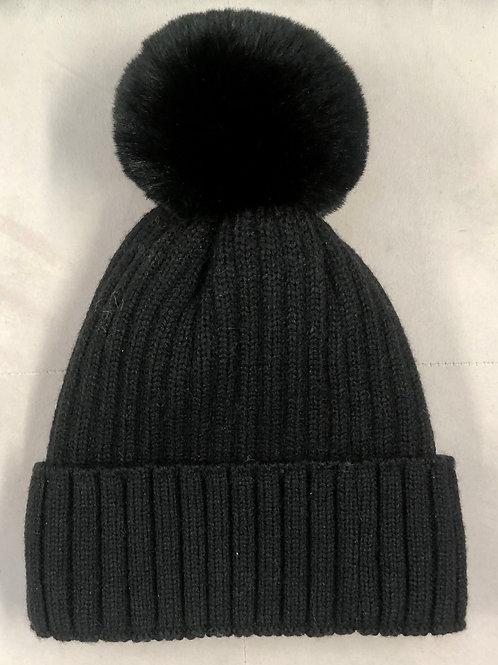 Cashmere mix bobble hat Black