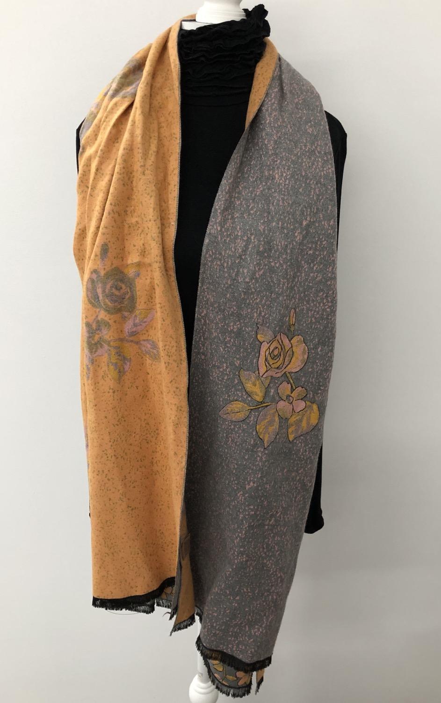 2 way scarf mustard & grey