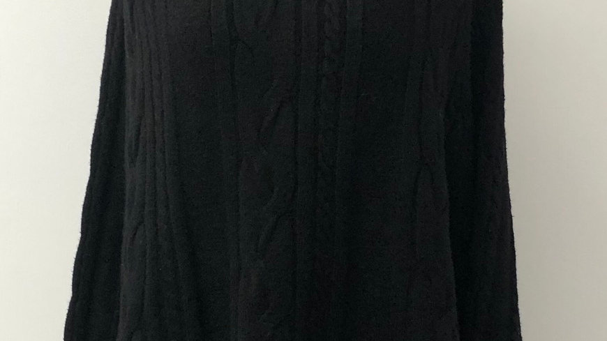 Black cable knit batwing poncho
