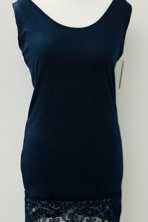longline lace vest navy