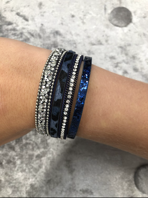 Navy faux leather wrap