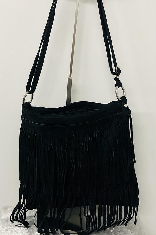 Suede tassel bag black
