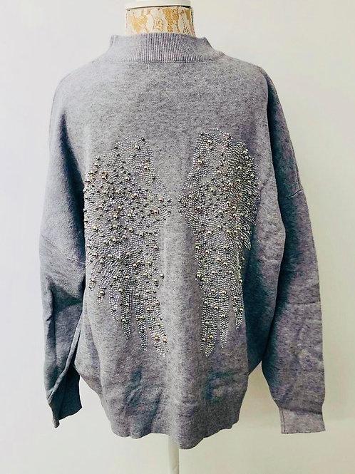 Angel wings sweater grey