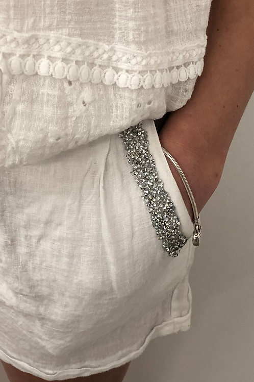 White sparkle trim shorts