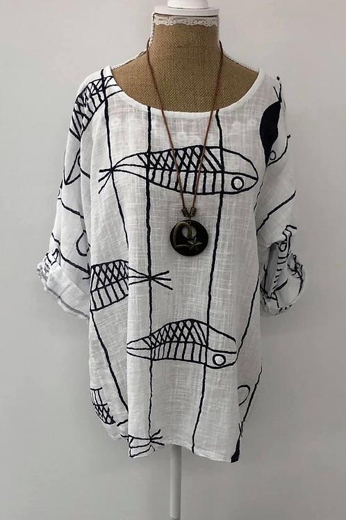 White fish blouse