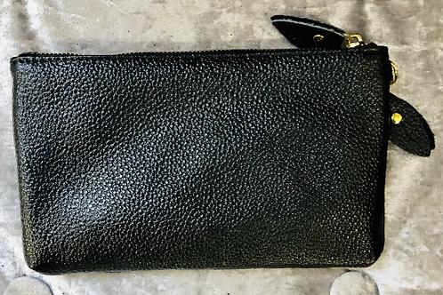 Leather wrist purse in black