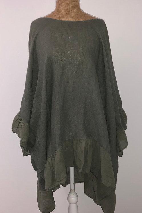 Oversized linen with ruffle hem khaki