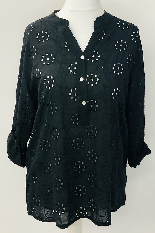 Embroidery anglaise blouse black