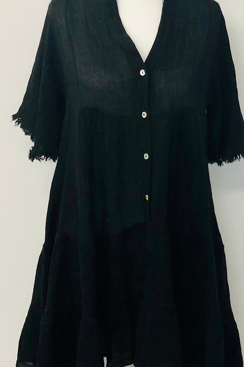 Cheesecloth dress black