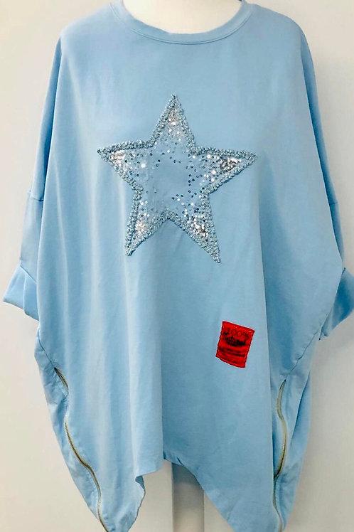 Zip star sweater sky blue