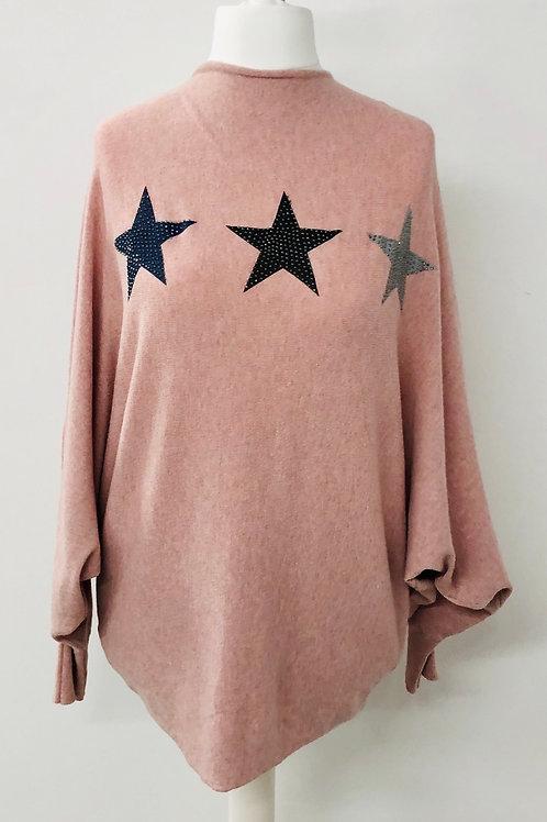 Soft knit star jumper pink