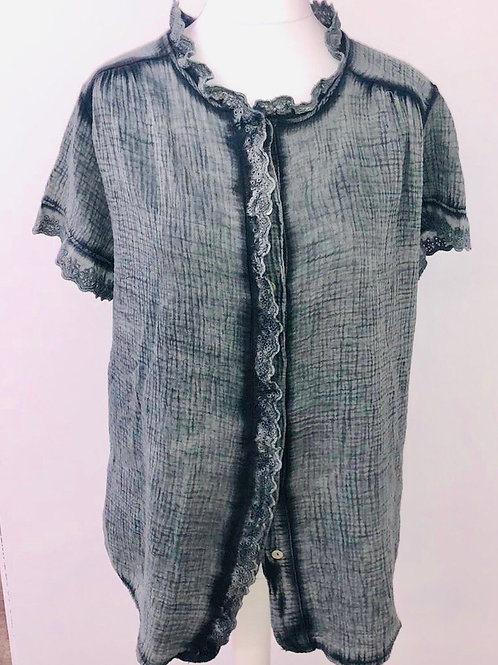 Ditsy blouse washed Graphite