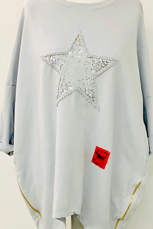 Zip star sweater dove grey
