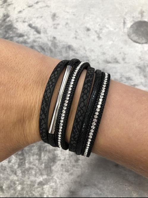 Black faux leather wrap