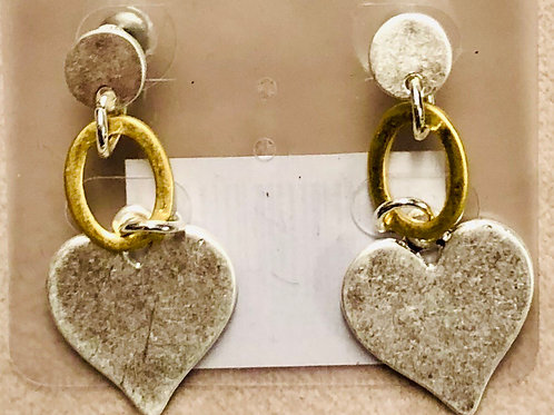 Solid heart silver /gold earrings