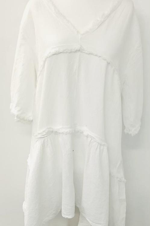 Linen mix dress white